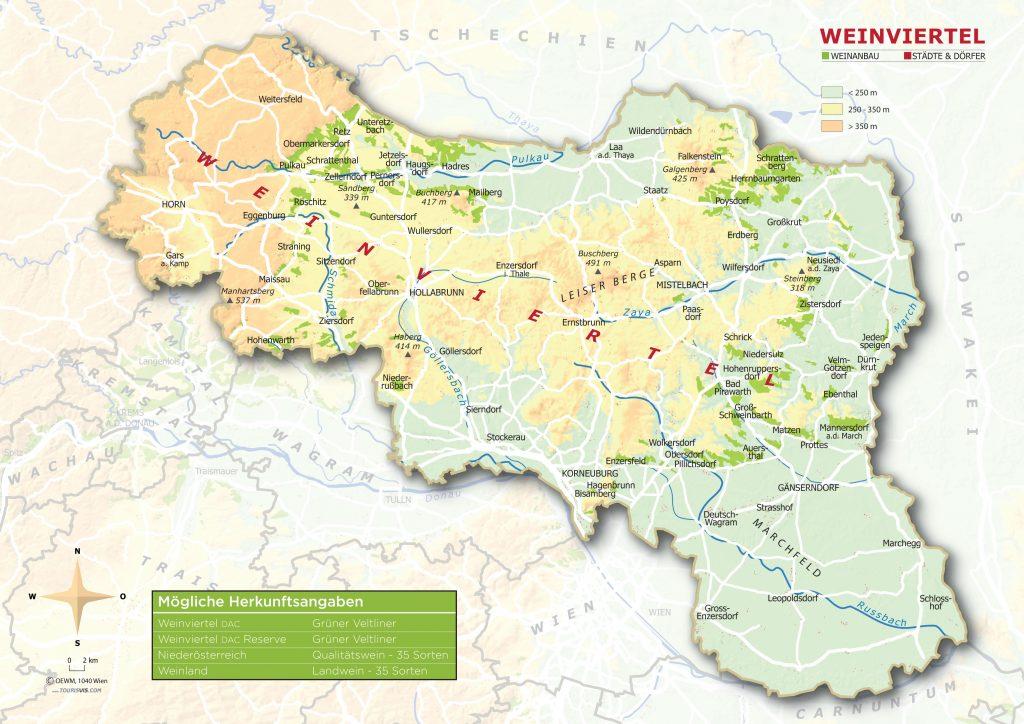 Weinviertel - topographische Karte
